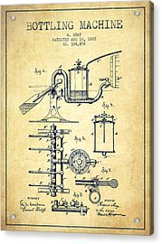 1885 Bottling Machine Patent - Vintage Acrylic Print by Aged Pixel