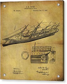 1887 Ship Patent Acrylic Print by Dan Sproul