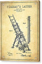 1895 Firemans Ladder Patent - Vintage Acrylic Print by Aged Pixel
