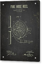 1901 Fire Hose Reel Patent- Dark Grunge Acrylic Print by Aged Pixel