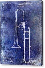 1902 Trombone Patent Blue Acrylic Print by Jon Neidert