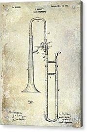 1902 Trombone Patent Acrylic Print by Jon Neidert