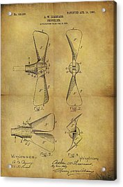 1903 Boat Propeller Patent Acrylic Print by Dan Sproul