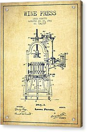 1903 Wine Press Patent - Vintage 02 Acrylic Print by Aged Pixel