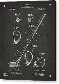 1910 Golf Club Patent Artwork - Gray Acrylic Print by Nikki Marie Smith