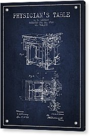 1910 Physicians Table Patent - Navy Blue Acrylic Print by Aged Pixel
