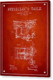 1910 Physicians Table Patent - Red Acrylic Print by Aged Pixel
