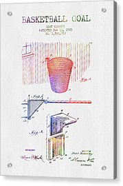 1925 Basketball Goal Patent - Color Acrylic Print by Aged Pixel