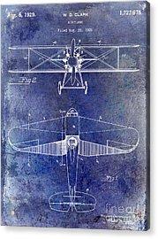 1929 Airplane Patent Blue Acrylic Print by Jon Neidert
