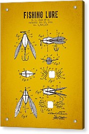 1926 Fishing Lure Patent - Yellow Brown Acrylic Print by Aged Pixel
