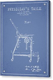 1926 Physicians Table Patent - Light Blue Acrylic Print by Aged Pixel