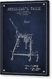 1926 Physicians Table Patent - Navy Blue Acrylic Print by Aged Pixel