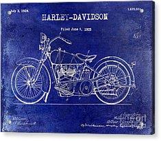 1928 Harley Davidson Patent Drawing Blue Acrylic Print by Jon Neidert