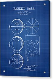 1929 Basket Ball Patent - Blueprint Acrylic Print by Aged Pixel