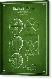 1929 Basket Ball Patent - Green Acrylic Print by Aged Pixel