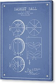 1929 Basket Ball Patent - Light Blue Acrylic Print by Aged Pixel