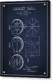 1929 Basket Ball Patent - Navy Blue Acrylic Print by Aged Pixel