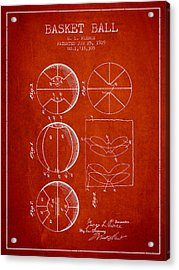 1929 Basket Ball Patent - Red Acrylic Print by Aged Pixel