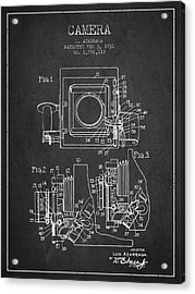 1931 Camera Patent - Charcoal Acrylic Print by Aged Pixel