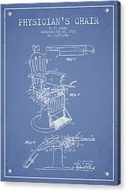 1933 Physicians Chair Patent - Light Blue Acrylic Print by Aged Pixel