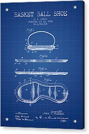 1934 Basket Ball Shoe Patent - Blueprint Acrylic Print by Aged Pixel