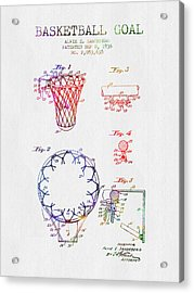 1936 Basketball Goal Patent - Color Acrylic Print by Aged Pixel