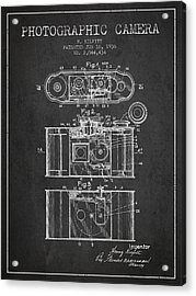 1936 Photographic Camera Patent - Charcoal Acrylic Print by Aged Pixel