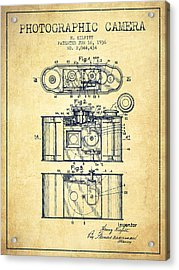 1936 Photographic Camera Patent - Vintage Acrylic Print by Aged Pixel