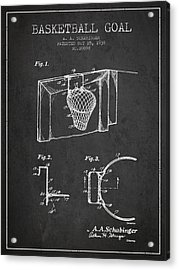 1938 Basketball Goal Patent - Charcoal Acrylic Print by Aged Pixel