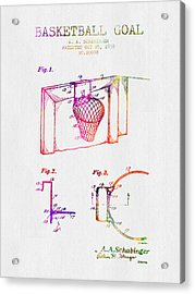 1938 Basketball Goal Patent - Color Acrylic Print by Aged Pixel