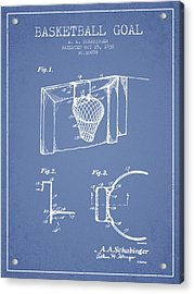 1938 Basketball Goal Patent - Light Blue Acrylic Print by Aged Pixel