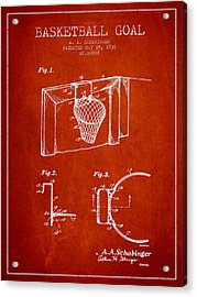 1938 Basketball Goal Patent - Red Acrylic Print by Aged Pixel