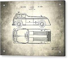 1939 Fire Truck Patent Acrylic Print by Mark Rogan