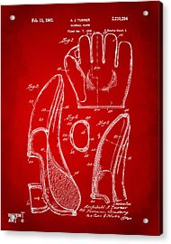 1941 Baseball Glove Patent - Red Acrylic Print by Nikki Marie Smith