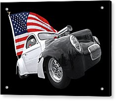 1941 Willys Coupe With Us Flag Acrylic Print by Gill Billington
