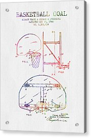 1944 Basketball Goal Patent - Color Acrylic Print by Aged Pixel