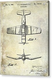 1946 Airplane Patent Acrylic Print by Jon Neidert