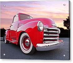 1950 Chevy Pick Up At Sunset Acrylic Print by Gill Billington