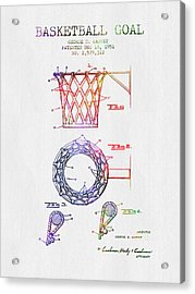1951 Basketball Goal Patent - Color Acrylic Print by Aged Pixel