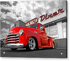 1952 Chevrolet Truck At The Diner Acrylic Print by Gill Billington