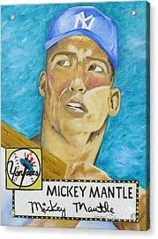 1952 Mickey Mantle Rookie Card Original Painting Acrylic Print by Joseph Palotas