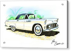 1955 Thunderbird Painting Acrylic Print by John Samsen