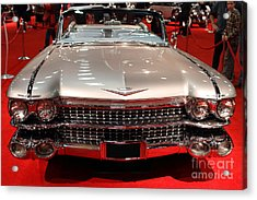 1959 Cadillac Convertible . Front View Acrylic Print by Wingsdomain Art and Photography