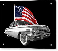 1960 Oldsmobile With Us Flag Acrylic Print by Gill Billington