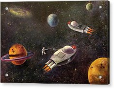 1960s Outer Space Adventure Acrylic Print by Randy Burns aka Wiles Henly