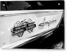 1961 Chevrolet Bel Air Impala Ss Bubble Top Side Emblem -0242bw Acrylic Print by Jill Reger