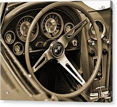 1963 Chevrolet Corvette Steering Wheel - Sepia Acrylic Print by Gordon Dean II