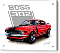 1970 Mustang Boss 302 Red Acrylic Print by David Kyte