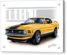 1970 Mustang Mach 1 In Yellow Acrylic Print by David Kyte