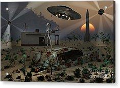Artists Concept Of A Science Fiction Acrylic Print by Mark Stevenson